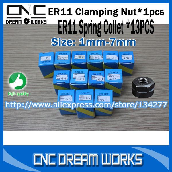 Versandkosten frei volle Set( 1- 7mm) 13 stk. Standard er11 spannzange +1pcs er spannzangenhalter für spindelmotor w0136
