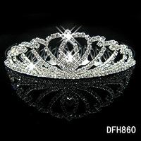 Crown Tiara FZ1Peach Heart Elegant Rhinestone Crystal   bridal hair Jewelry Wedding Bride Party  B7