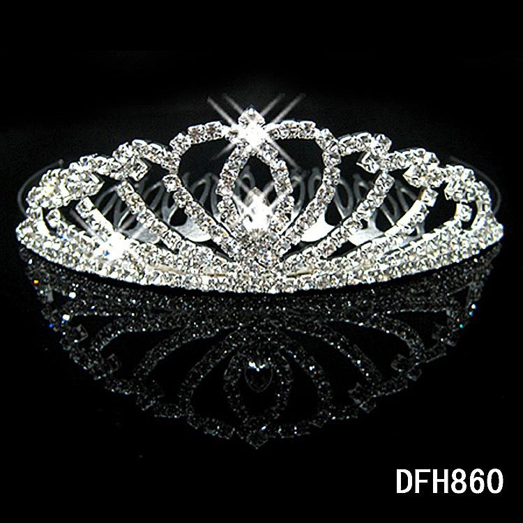 W15 Crown Tiara Peach Heart Elegant Rhinestone Crystal bridal hair Jewelry Wedding Bride Party B7
