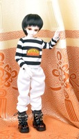 Bjd sd male clothes white western-style trousers stripe t-shirt