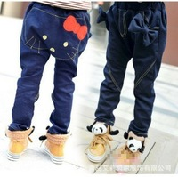 retail Cotton Jean children's clothing autumn girls cat style with bow harem pants kid's blue color Denim pants