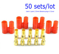 F00914-50 50 sets 3.5mm Banana Gold Bullet Connector Plug with Housing for ESC Lipo Battery Motor + freeshipping
