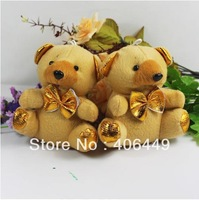 High Quality 11CM Gold plush toy Bear Christmas tree ornaments Small gifts free shipping WJ1017