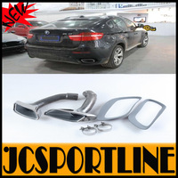 Pair of 304 Statinless Steel Genuine E71 X6 Exhaust Tips Auto Car Retrofit Tail Pipes Trim Chrome For BMW X6 E71 30d 35d 40d