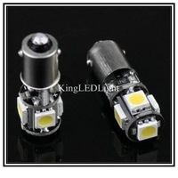 Free Shipping 2pcs Car Bulb CANBUS Error-Free BA9S LED H6W White 5050 SMD 5 LED Light Lamp 12V