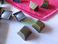 Free shipping 10mm square  bronze pyramid panel pressing 3 d  hot fix nailhead Rhinestud DIY Spike Clothes accessory 200pcs/lot