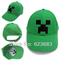 [No minimum]Minecraft Creeper Anime Green Black Hat Baseball Cap Free shipping