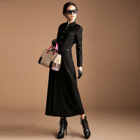2013 Autumn Winter Women's  Clothes Long Cashmere Woolen Slim Outwear Coats Europen Female Single Breasted O-neck Overcoat S-XXL
