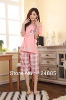 Summer Women's Thin Short-sleeved Cartoon Cute Sweet Pajamas Casual Night Clothes Home Sleepwear Set 51148