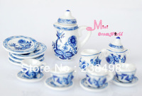 Free Shipping !  Lot of 15 Blue Cornflower Porcelain  COOKING Dining ware porcelain~ 1/12 Scale Dollhouse Miniature Furniture