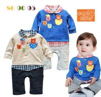 2013 new baby boy romper,3 pcs/lot, Baby long sleeve lovely bear jumpsuit