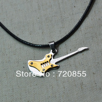 Stainless steel fashion guitar pendant with rhinestones for Girls Boys Kids and men & women,Musical Instruments Jewelry
