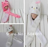Promotions! retail Fashion hello kitty children plush hat/animal cap/ cotton Fashion scarf Hat & Glove 3 in 1 Sets (3 styles)