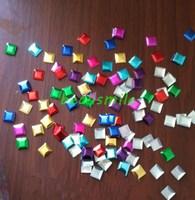 Free shipping 10mm colorful aluminium square pills panel pressing  hot fix nailhead Rhinestud DIY Spike accessory 500pcs/lot