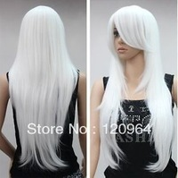 "Kanekalon Fiber Hair Cos Harajuku Natural Kanekalon wig 30"" Sexy Popular wave white straight womens full costum Hair Wig"