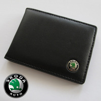 Leather Credit Card Holder Case Wallet Pocket Car Skoda Fabia Octavia Superb Citigo MisionL Roomster VisinD Yeti