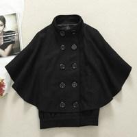 Cecil mcbee wool cloak wool coat batwing sleeve outerwear cape female