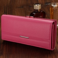 High Quality Genuine Leather Wallet Women's Wallet Clutch Long Design Clip Wallet Long Wallets Coin Purse Bag FFC12 Free Shiping