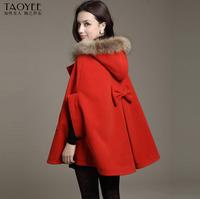 2013 Women autumn and winter wool cloak wool coat overcoat fur collar cloak woolen outerwear cape female