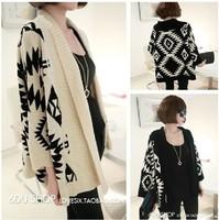Rhombus geometry pattern loose batwing sleeve cardigan sweater outerwear