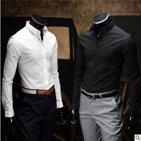 Black  autumn long-sleeve men's shirt business casual wear white work shirt slim shirt