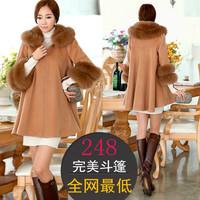 2013 winter plus size large fur collar elegant loose woolen outerwear macrotrichia cloak overcoat female