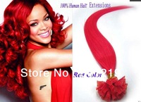 mac makeup Sexy fashion Red straight keratin nail U-tip pre bonded human hair extensions brazilian virgin hair 0.5g 0.7g 24Inch