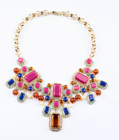 Free shipping Hot Fashion Jewellery Latest Fashion Ladies Retro Colored Necklaces, Wholesale jewelry