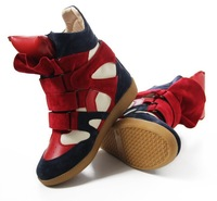 Drop Shipping Genuine Leather Size(35~41) Red+Black+Blue Boots Height Increasing Sneakers Shoes