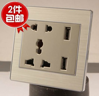 Free shipping Dual USB authentic five-hole socket panel USB multifunction panel iphone charging USB socket panel