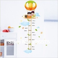 Free Shipping Kids in The Hot Air Balloon with  Ladder Height Chart Cartoon Wall Sticker