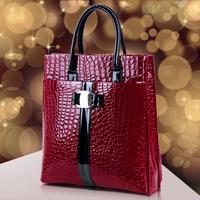 "new arrival ""2013 charming woman Leather handbag crocodile pattern fashion handbags PU glossy handbags bright surface"
