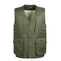 Multi-pocket wool vest quinquagenarian men's clothing plus velvet thermal artificial wool plus size cotton vest waistcoat