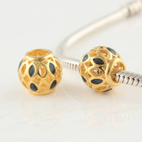 Gold Plated Hollow Flower Ball Slide Spacer Beads, DIY Jewelry Findings compatible with European pandora Charm Bracelets GP094