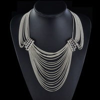 Min Order Is $20(mixed order)!Multi-Strand Chain-Link Necklace, Silver Color