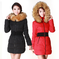 Women's raccoon large fur collar fashion down jacket cotton-padded female medium-long slim wadded jacket 2013 winter