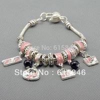 Charm Bracelets & Bangles, 925 sterling silver bracelets for women, fine pink beads charm bracelets jewelry free shipping Pa1011
