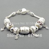 Charm Bracelets & Bangles,925 sterling silver bracelets for women, fine white beads charm bracelets jewelry free shipping Pa1012