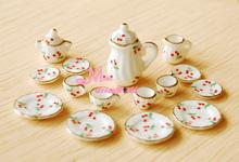 monte de 15 pcs cereja casa de bonecas em miniatura de porcelana porcelana café pote tampa chá copos dc80()
