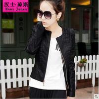 spring 2014 leather jacket motorcycle jacket women clothing outerwear women design o-neck short slim coats