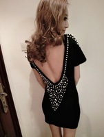 2013 Winter Fashion Woman Sexy Hollow Out On Back Club Dress Individual Beading Decorated Party Dresses Free Shipping D-0006