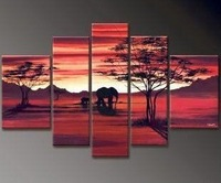 100% Hand painted Red sunset elephant forest landscape Wall home Decor Oil Painting on canvas 5pcs/set mixorde Framed