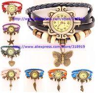50pcs/lot 7 styles Hot Leather Vintage Watches bracelet Retro Starfish Pendant Dress Butterfly Leaf Owl Quartz Watch 10 colors