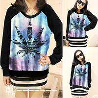 Harajuku raglan sleeve long-sleeve sweatshirt female spring and autumn outerwear female loose