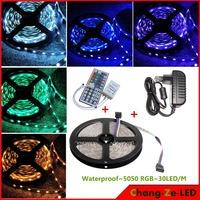 High Quality, Epistar SMD5050 chip, 12v DC 36w waterproof RGB 5050  led strip 30led/m 150led + 44 key IR + 12v 3a power
