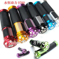 "UNIVERSAL Motorcycle ALUMINUM 7/8"" 22mm HANDLEBAR GRIPS & BAR END WEIGHTS  8 Colors Black Sliver Gold Blue Red Green Purple"