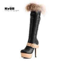 2013 Free Shipping!Kvoll black fox fur metal hasp color block platform high-heeled boots gaotong