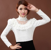 2013 ruffle lace basic shirt plus velvet slim long sleeve turtleneck lace shirts  top blouses for women XL L M S