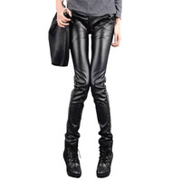 Free Shipping 2013 New Velvet PU Full Length Tight Elastic Jeans Skinny Pants Pencil Trousers 26,27,28,29,30,31,32 RG1312604