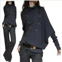 new high -quality women's fashion shoulder asymmetrical collapse  loose pullover sweaters